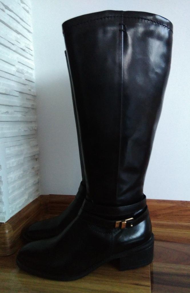 skórzane kozaki 5th Avenue za kolano 5th Avenue czarne
