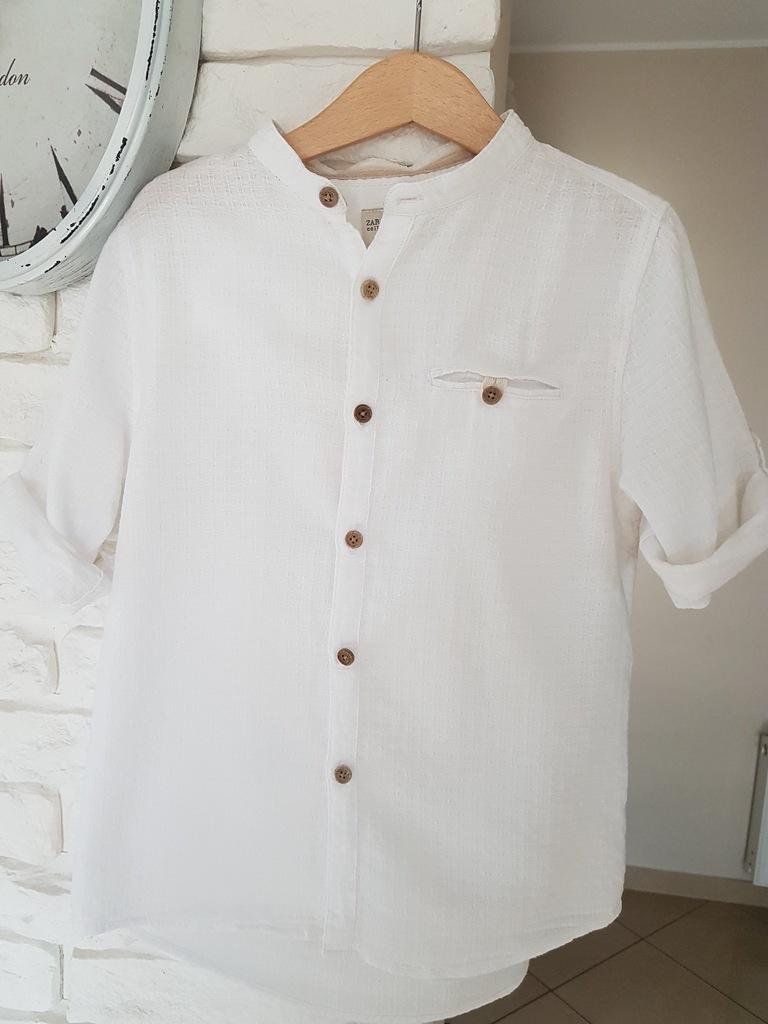 Koszula chłopięca stójka ZARA 122 biała 7 lat 7421741649  wUO5U