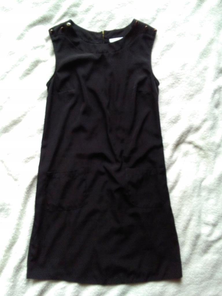 Wallis czarna sukienka ze złotym suwakiem