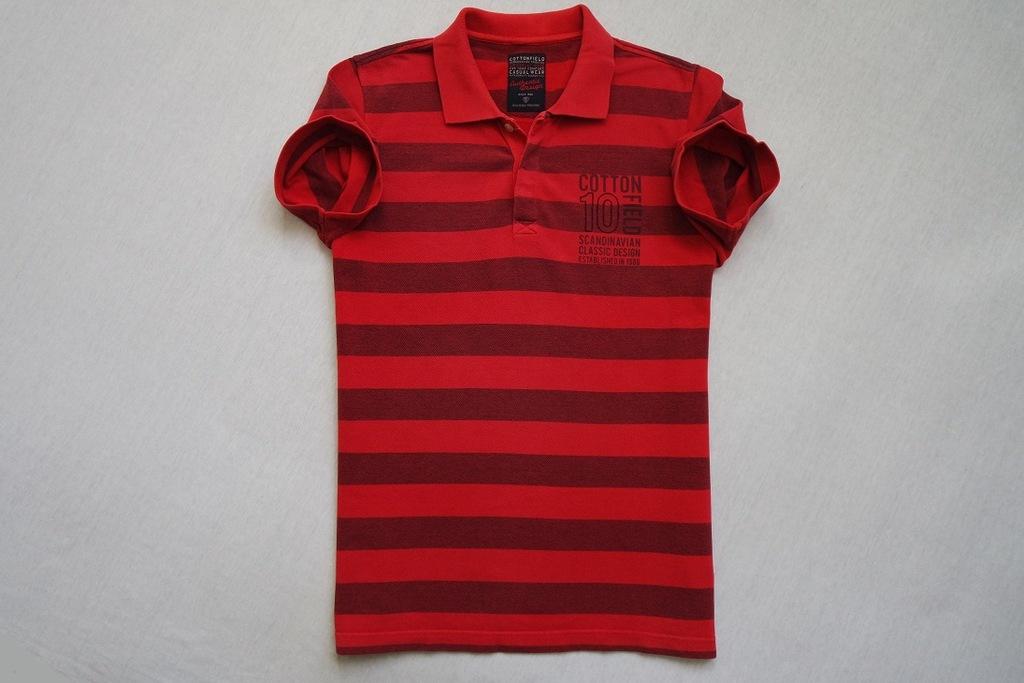 COTTONFIELD koszulka polo czerwona paski logo____M