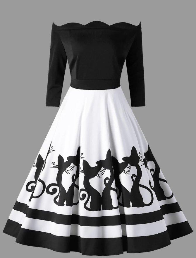 Sukienka rozkloszowana 5XL czarno biała koty