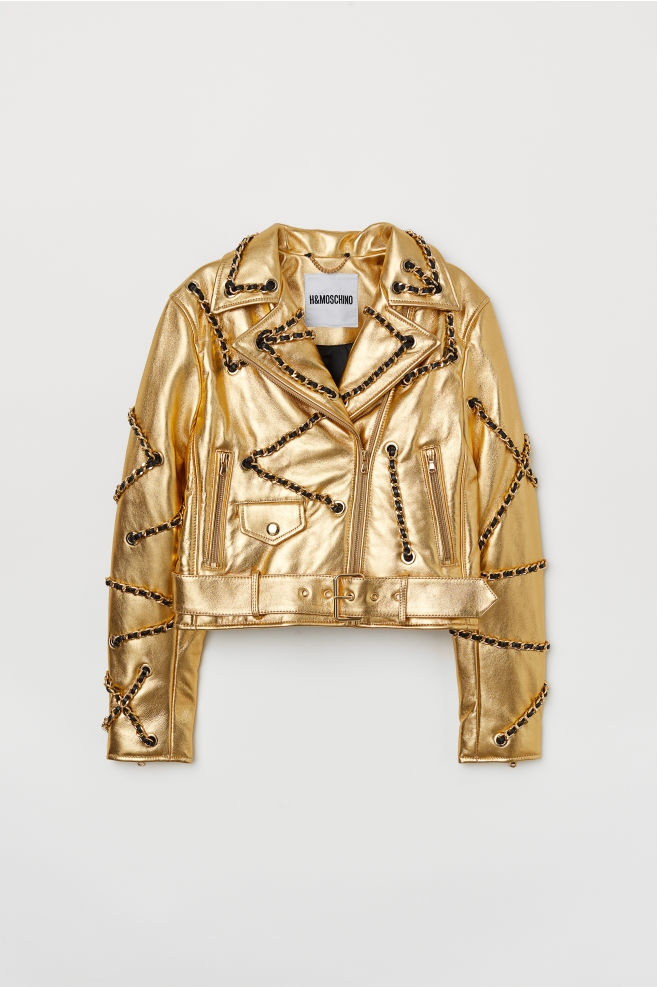 kurtka skórzana męska złota