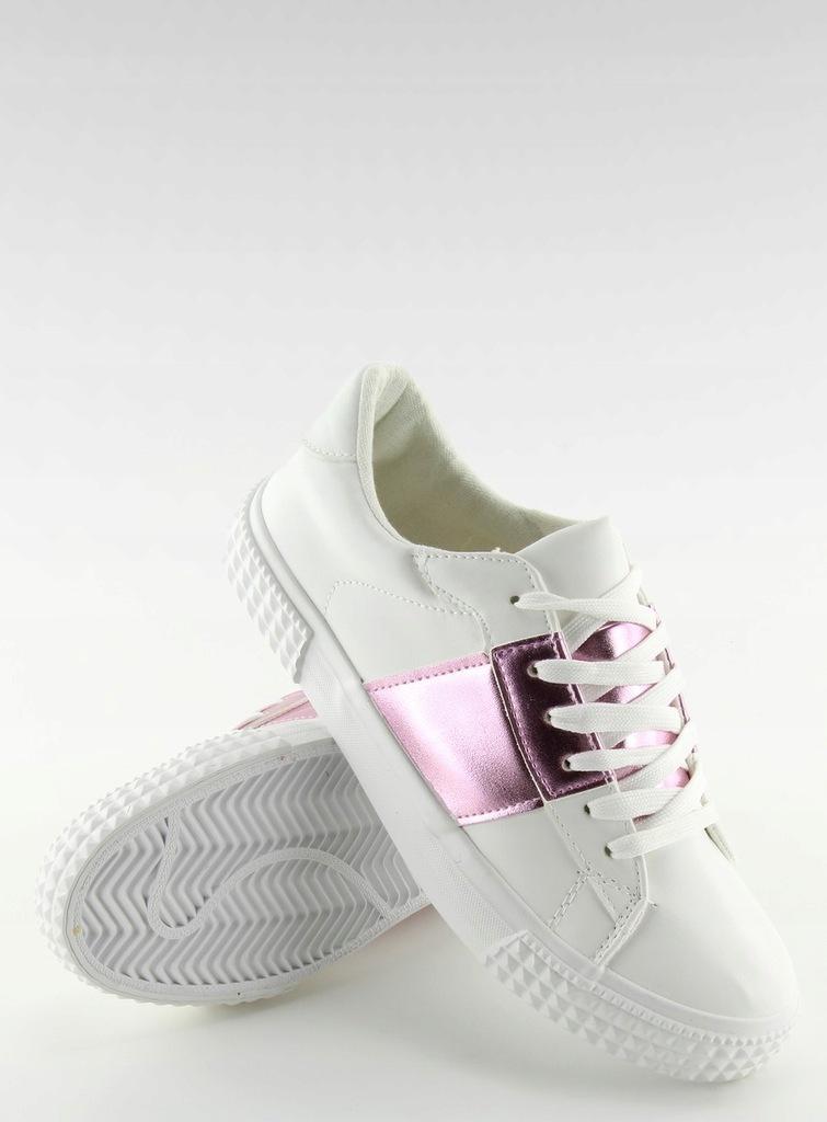 Trampki damskie biało różowe dobrej jakości 41