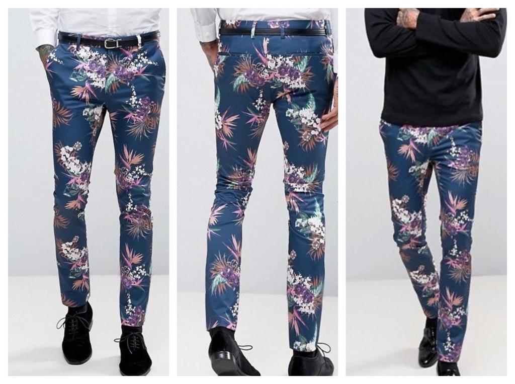 spodnie skinny  granatowe kwiaty sylwester 34 36