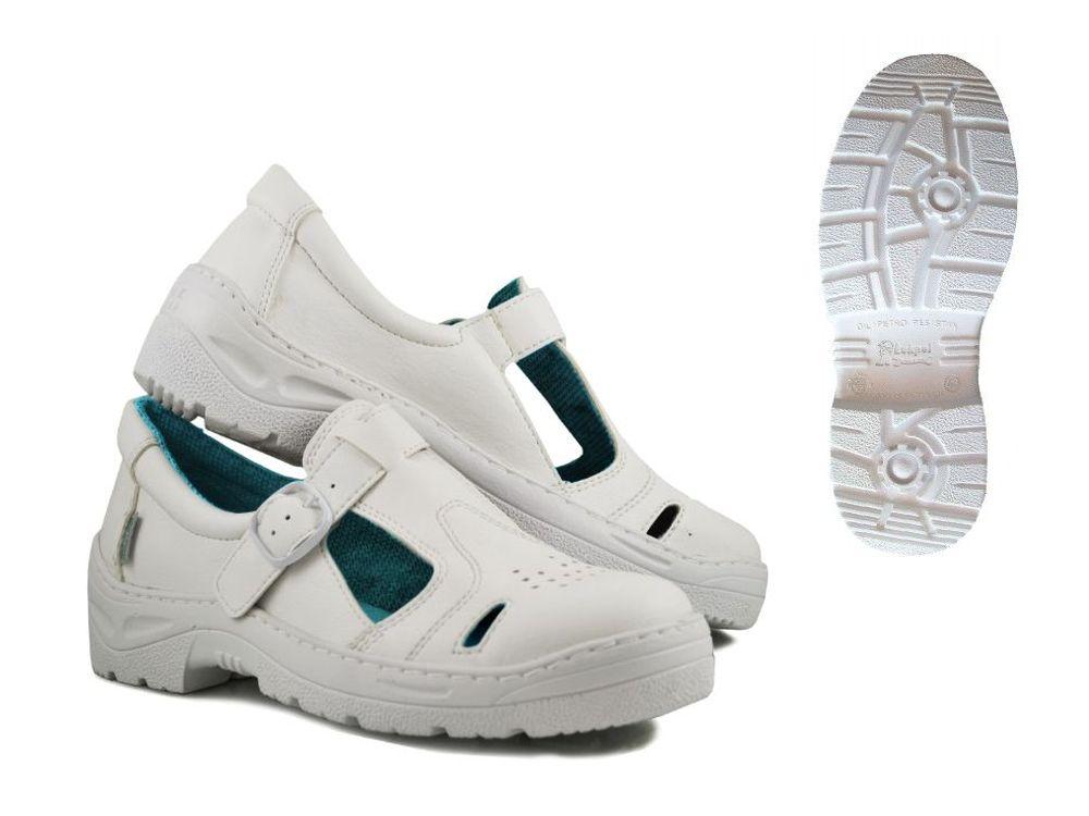 Białe sandały robocze ochronne Fagum 912/2F S1 42