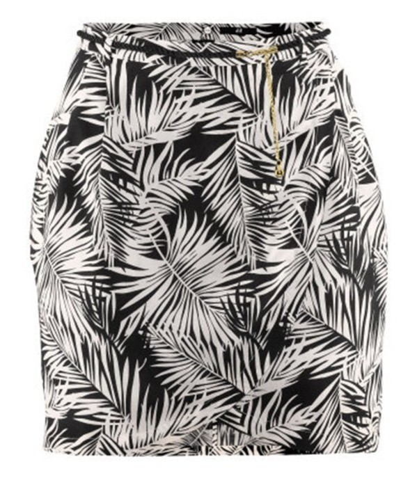 H&M letnia spódniczka 38 biało czarna palmy