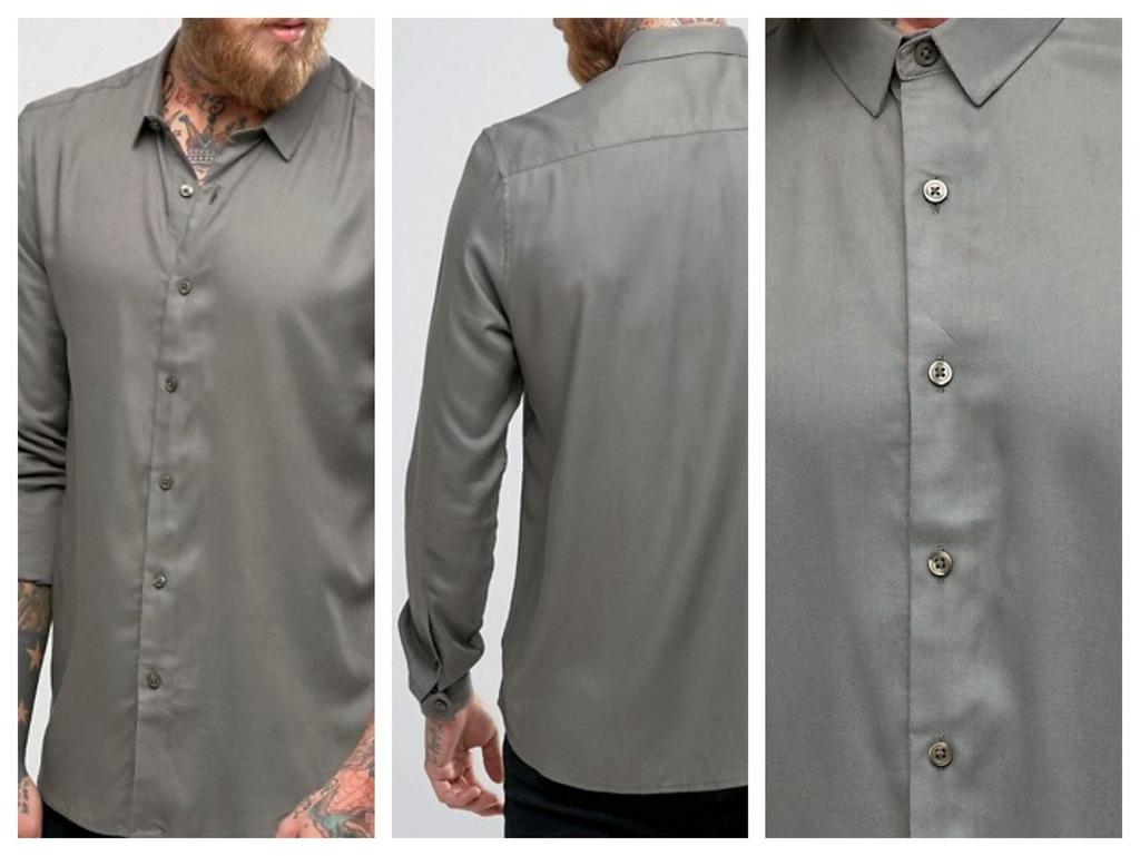 mk70 koszula khaki regular fit oliwkowa wiskoza M