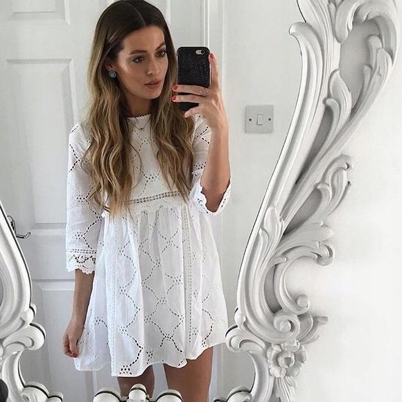 sukienka zara haftowana biała 2018