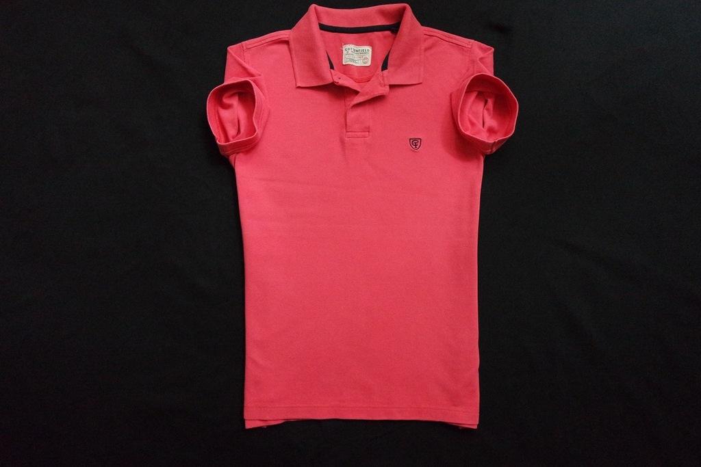 COTTONFIELD koszulka polo różowa logowana modna__S