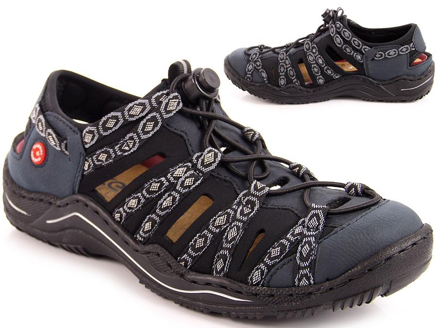 Sandały damskie sportowe granatowe rieker l0577 15