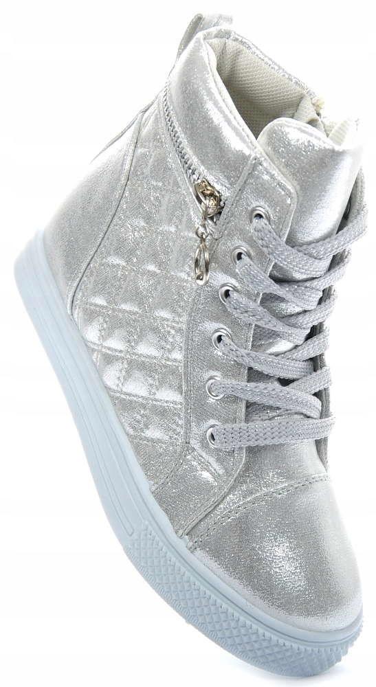 Dziecięce buty trampki sneakersy SREBRNE 1389 30
