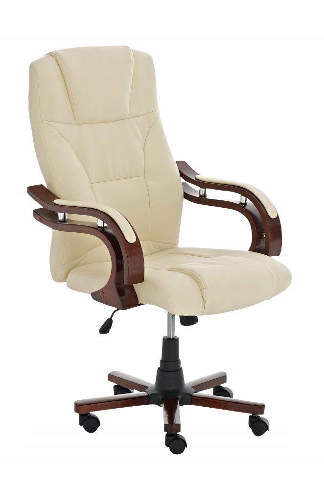 Krzesło biurowe FOTEL PREZESA drewno skóra 24H