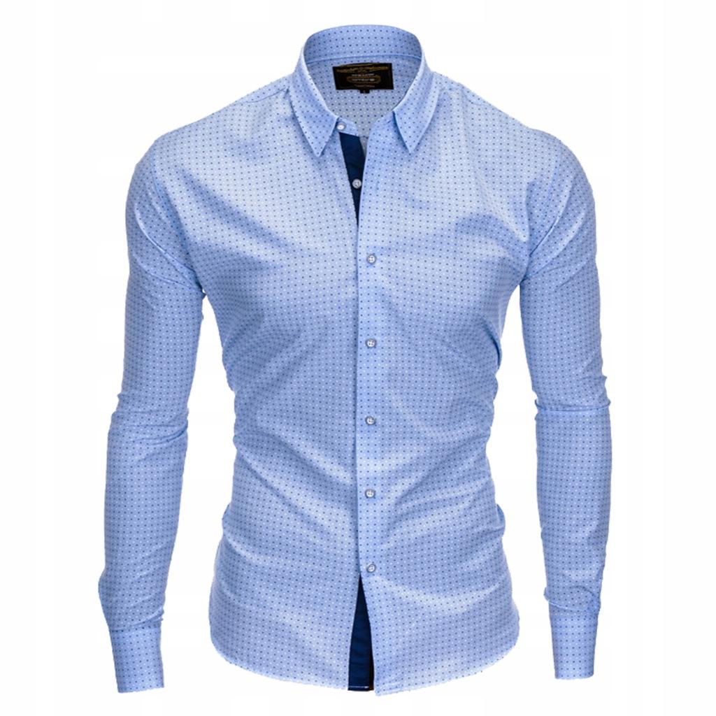 Koszula na wesele wzór w kropki K412 błękitna M 7272137496  QELsT