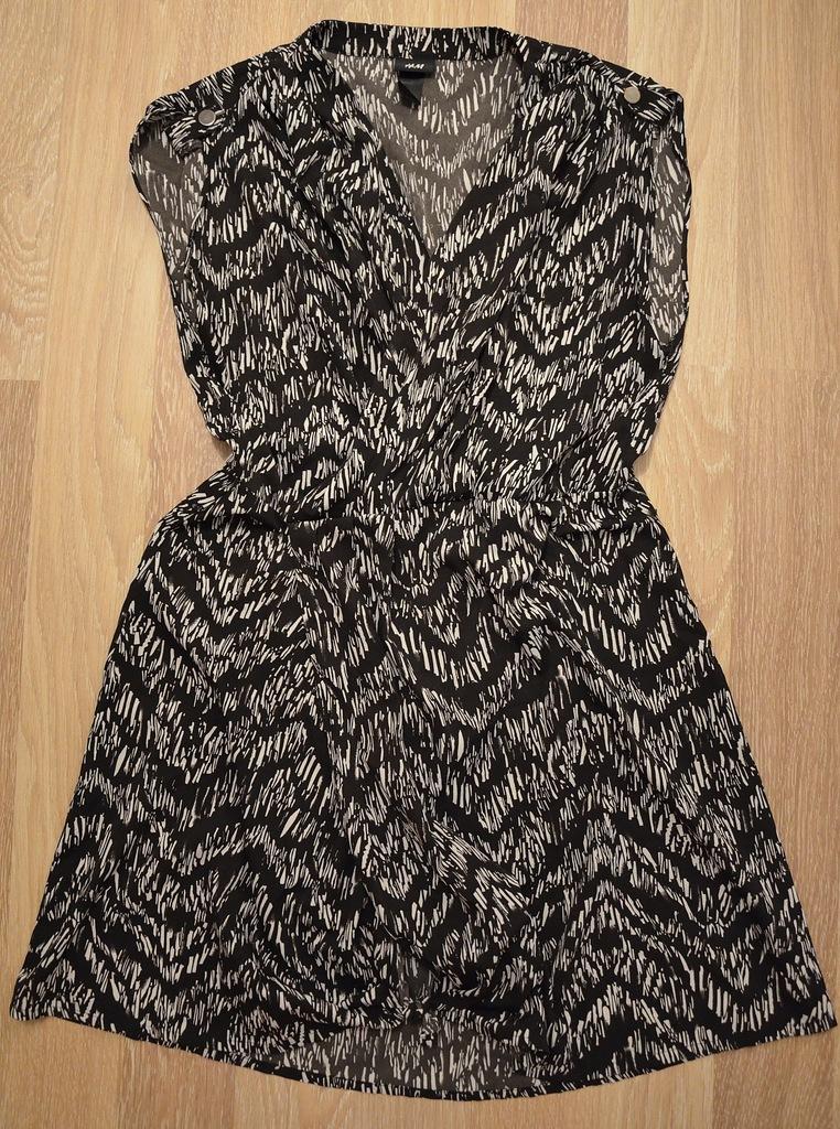sukienka H&M czarno biała oryginalny wzór 38 7410199064