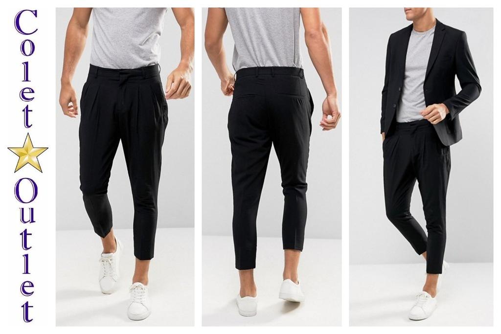 mo95 spodnie męskie czarne zwężane 7/8 W29 L32