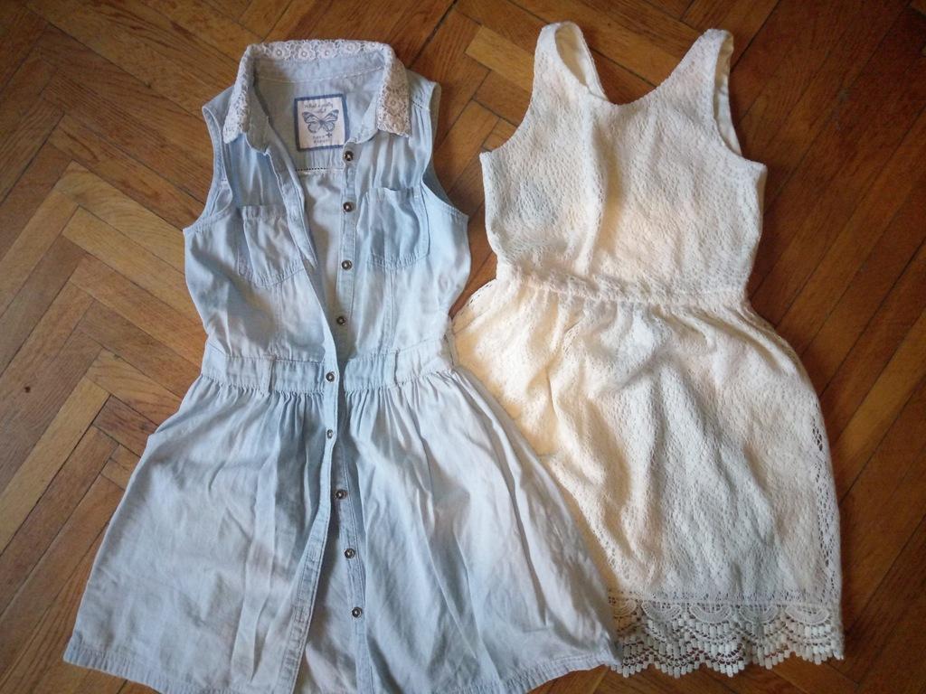 ZESTAW 2 sukienki 136/146 koronka C&A H&M