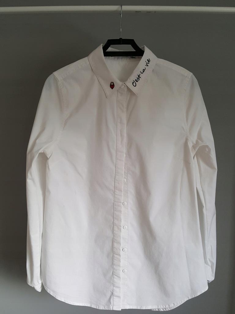 biała koszula z haftem na kołnierzu House S 7679295139  N7Ya2