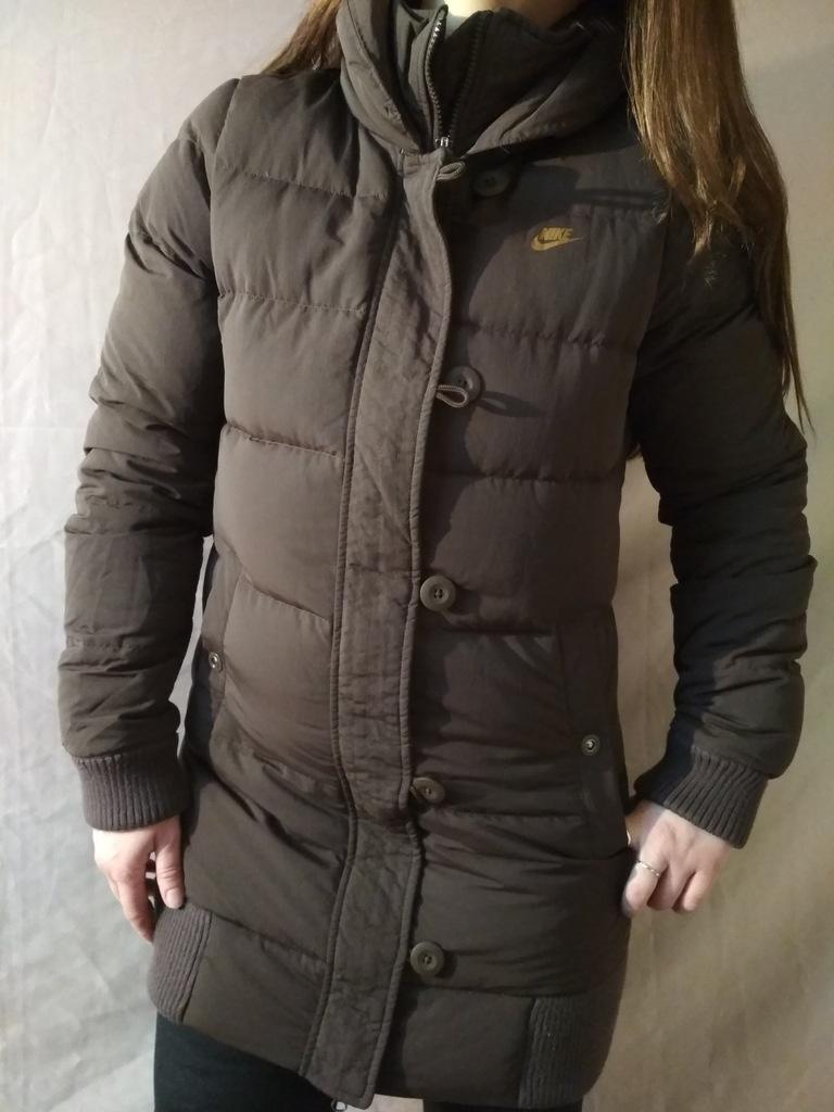 nike długa kurtka brąz puchowa płaszcz s m j.NOWA