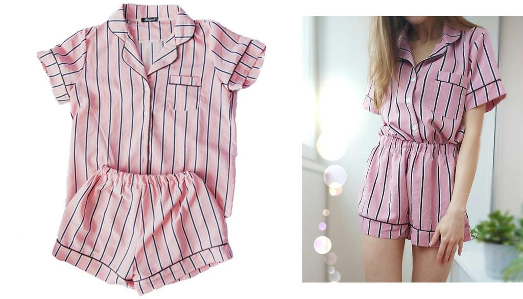 Piżama z koszulą i szortami | Valetta.pl