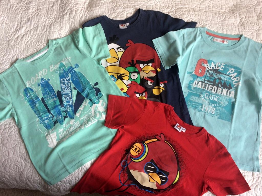4 koszulki T-shirt r.134/140 angry birds C&A