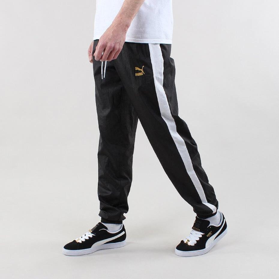 PUMA czarno białe spodnie dresowe ortalion 38 M