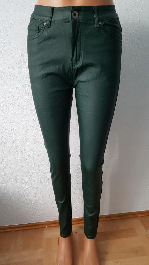 GOODIES nowe spodnie woskowane ZIELONE rurki L40