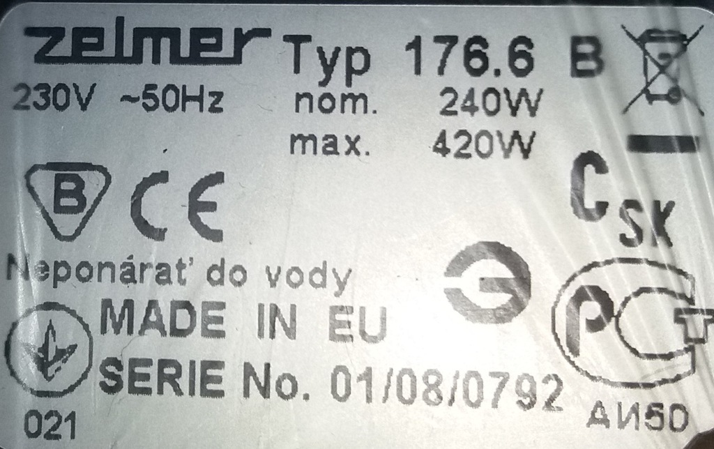 Sokowirówka Zelmer 176.6B 420W Stal nierdzewna 7271017278