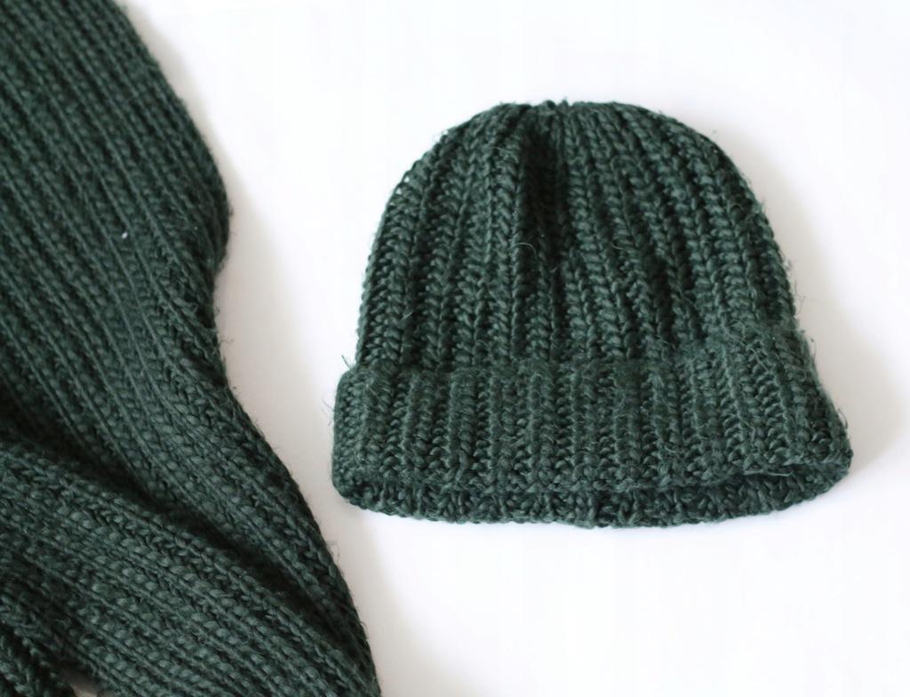 h&m hm zielony zestaw czapka szal gruby plecio