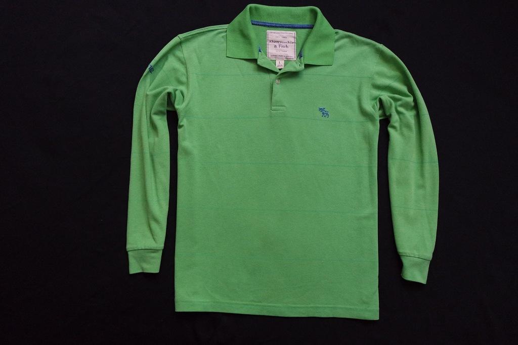 ABERCROMBIE FITCH koszulka zielona paski logo__S/M