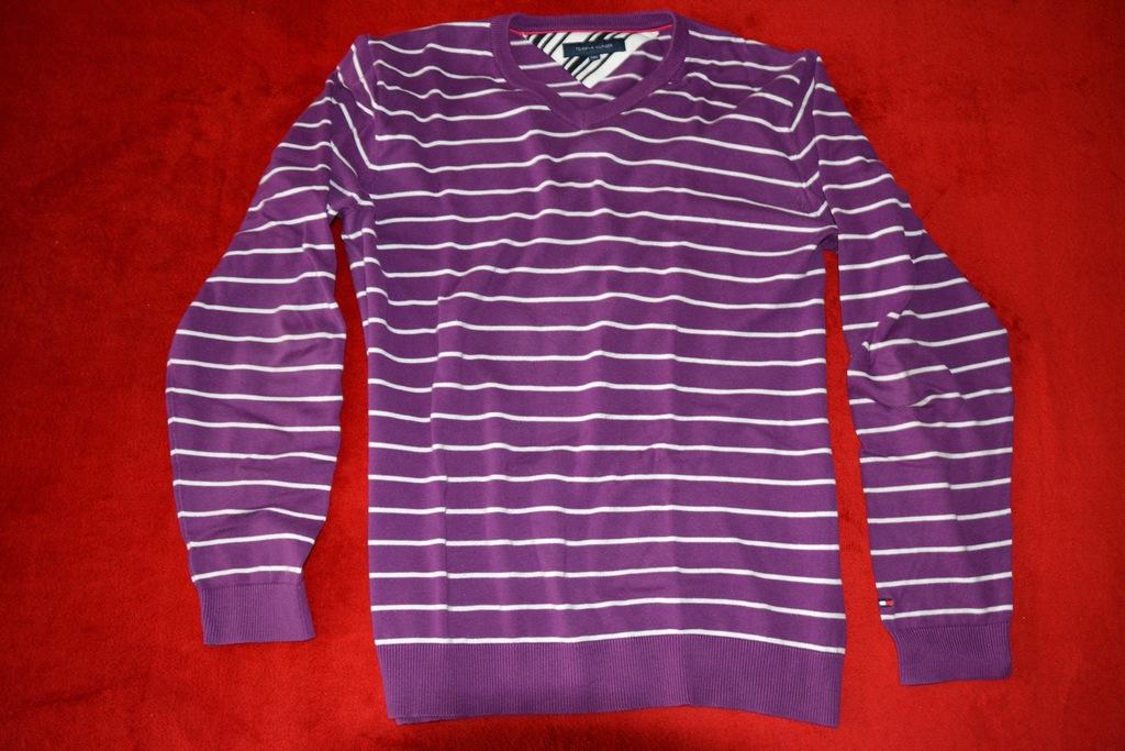 TOMMY HILFIGER sweter w paski XXL fioletowy od 1zł
