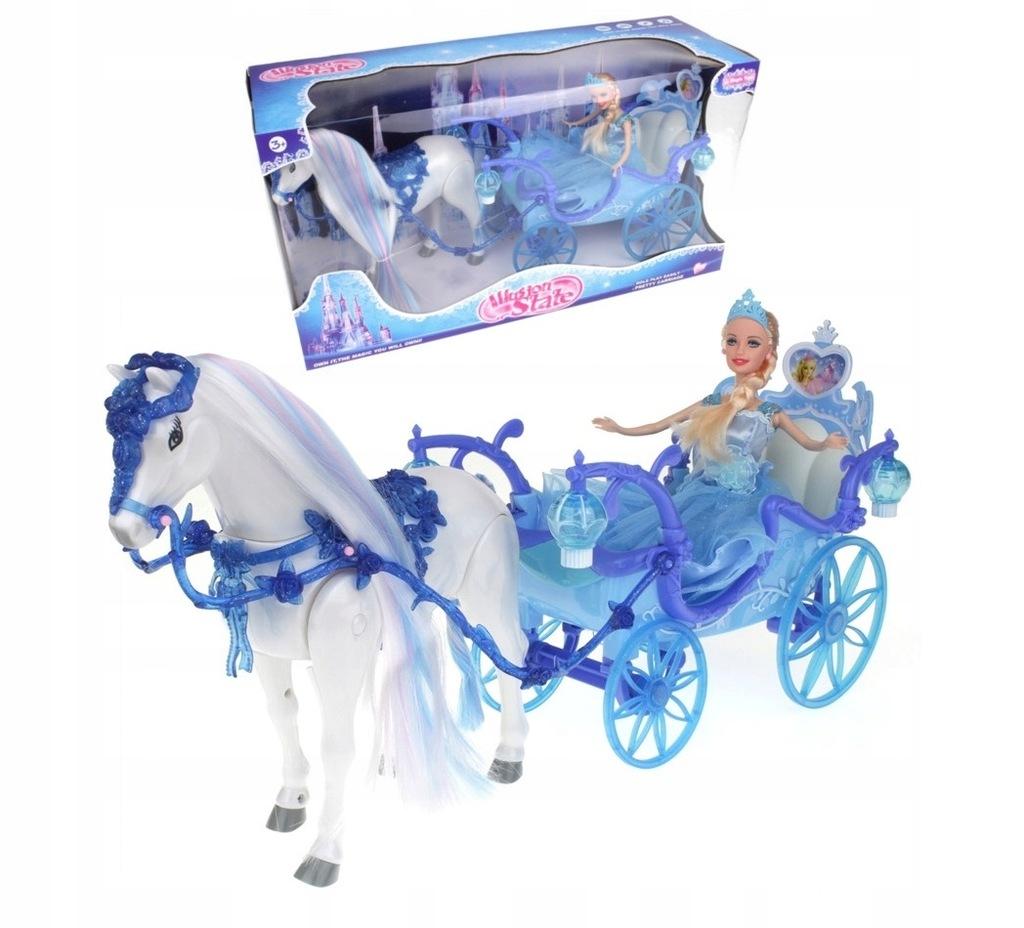 Duża Kareta Chodzący Koń Kraina Lodu Karoca Barbie