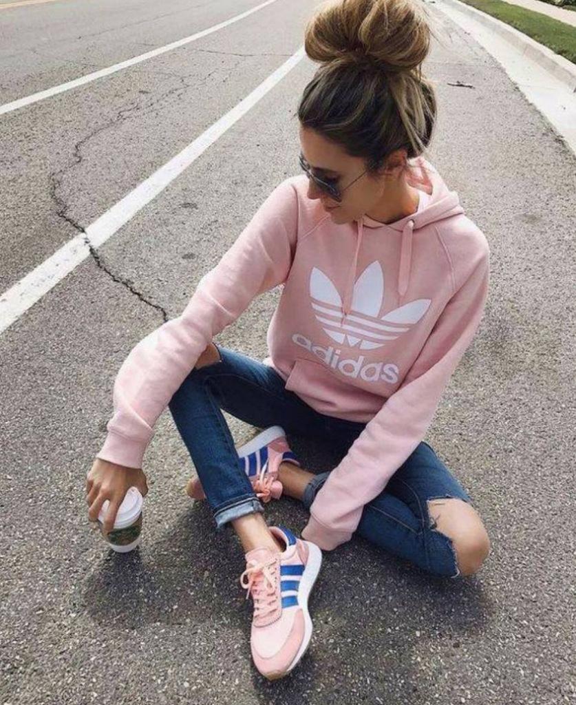 bluza adidas pudrowy róż damska