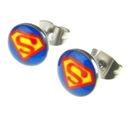 Kolczyki motywy 3D logo SUPERMAN nr2 -  8mm  316L