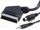 Kabel wtyk SCART; wtyk SVHS; wtyk Jack 3,5mm; 3,0m