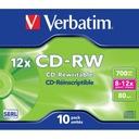 VERBATIM CD-RW Jewel case Wielokrotny zapis 10 szt