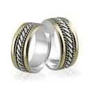 Obrączki srebrne ze złotem - wzór Ag-090
