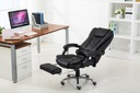 Fotel biurowy Elgo masaż podnóżek obrotowy czarny Materiał obicia Skóra sztuczna