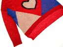 58__TU__CEKINY__sweter damski__40 L__BDB Kolor ecru czerwony niebieski
