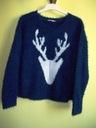 Sweter włochaty granatowy z łosiem TU ( 46 / 48 ) Marka Tu Clothing