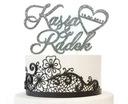 Imiona i data na tort weselny topper ślubny brokat