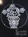 Witraż Białe róże Koronka Frywolitka Rękodzieło!