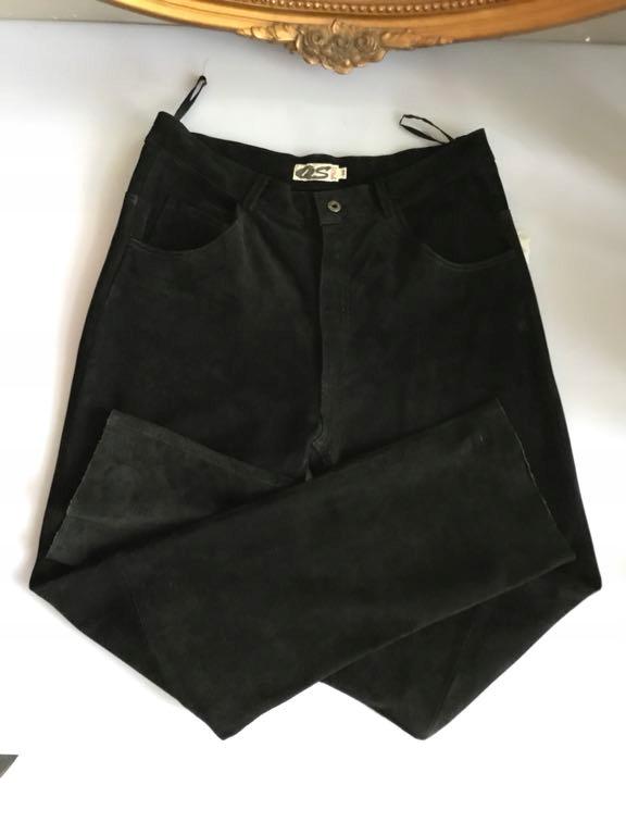 089027bf Czarne zamsz naturalny spodnie 38 M s.Oliver
