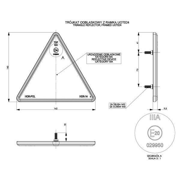 LAMPA LAMPY TRÓJKĄT ODBLASKOWY PRZYCZEP OTWORY BLASZKA A0018