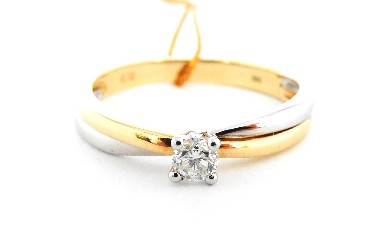 Piękny Złoty Pierścionek Brylant Verona 585 R 15 7583853990