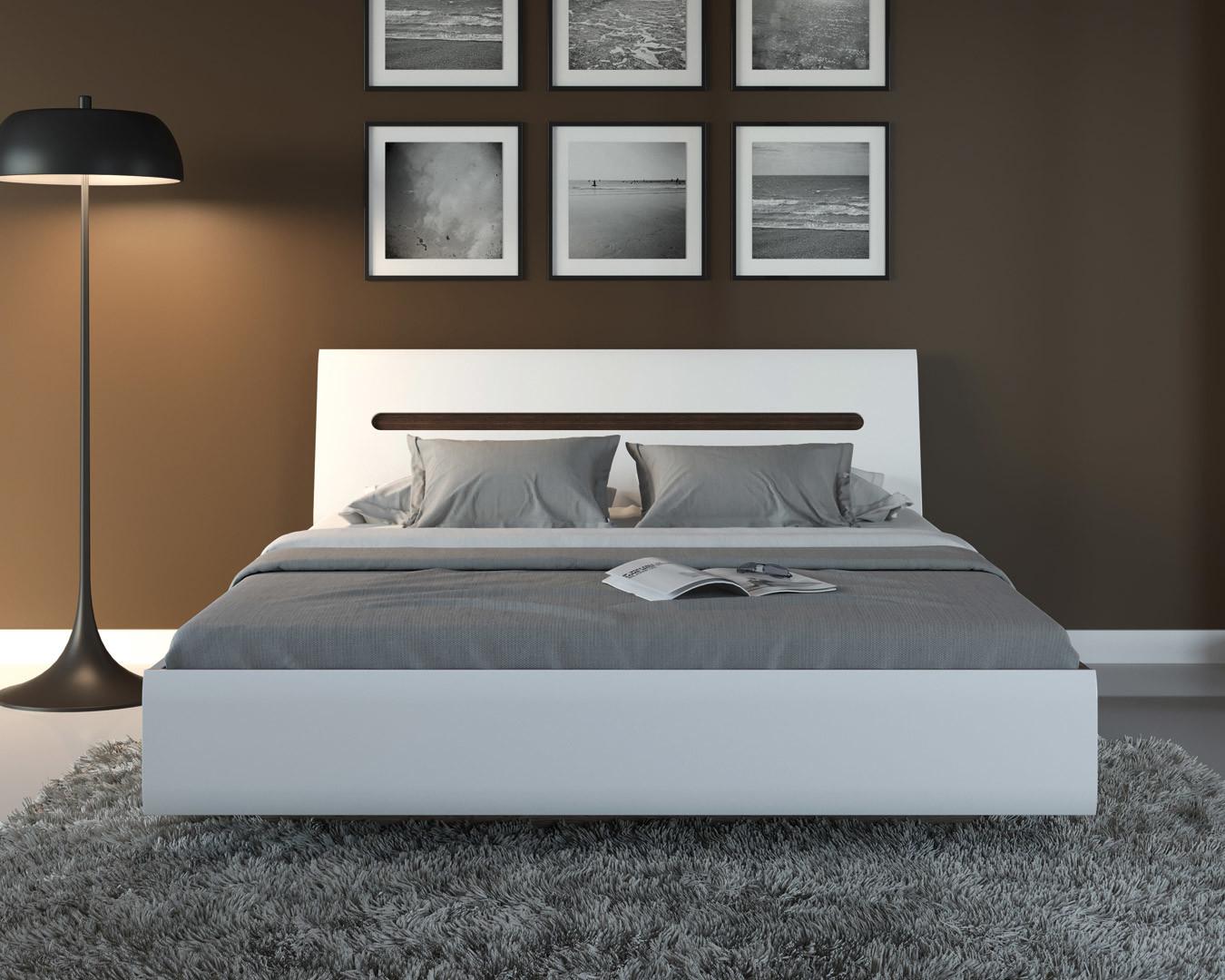 łóżko Dwuosobowe Białe Azteca 160x200 Black Red Wh