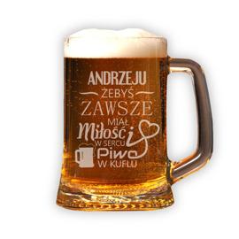 Кружка с гравировкой- 'чтобы у тебя всегда было пиво в кружке' доставка товаров из Польши и Allegro на русском