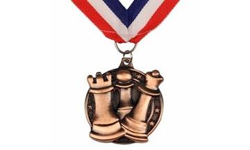 (Медаль шахматный круглый СЕРЕБРО - тяжелый!) доставка товаров из Польши и Allegro на русском