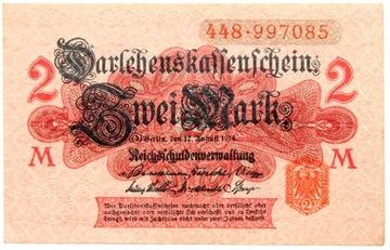 Германия - КУПЮРА - 2 Марки 1914 - выпуск II доставка товаров из Польши и Allegro на русском