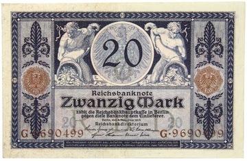 Германия - БАНКНОТЫ - 20 Марок 1915 доставка товаров из Польши и Allegro на русском