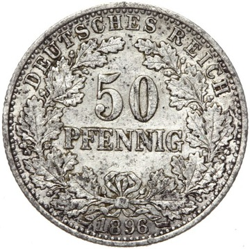 + Германия - Империя - 50 Pfennig 1896 - Серебро доставка товаров из Польши и Allegro на русском